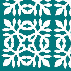 Papercut Fabric teal-green