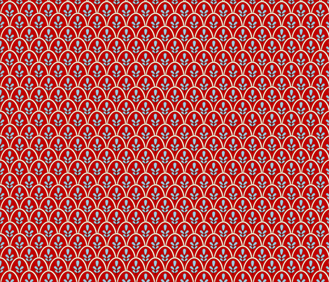 Michi (Red and Pale Blue) fabric by jmaranez on Spoonflower - custom fabric