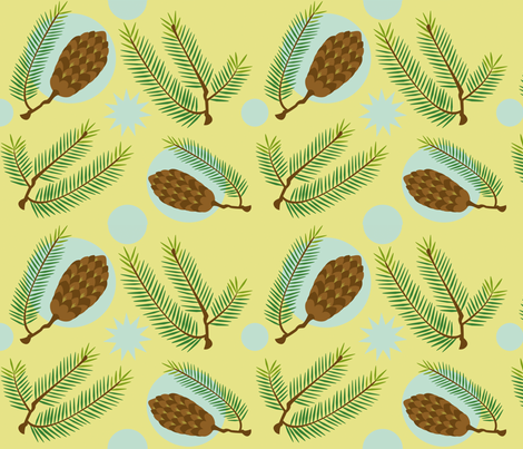 Douglas Fir -- Pale Sunset and Sky Blue fabric by nightgarden on Spoonflower - custom fabric