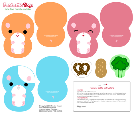 Hamster Softies Cut and Sew Pattern fabric - fantastictoys - Spoonflower