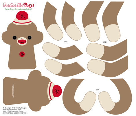 Sock Monkey Cut and Sewing Pattern fabric by fantastictoys on Spoonflower - custom fabric