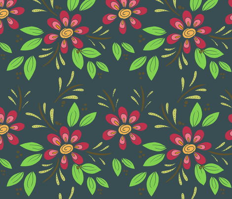 Floral flourish on grey fabric by highoncraft on Spoonflower - custom fabric