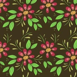 Floral flourish on brown 2