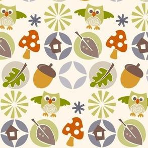 owl autumn pattern