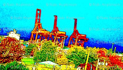 Flightless cranes, Vancouver Harbour