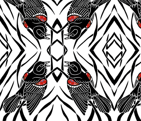 Red-Winged Blackbird fabric by birdnerd on Spoonflower - custom fabric