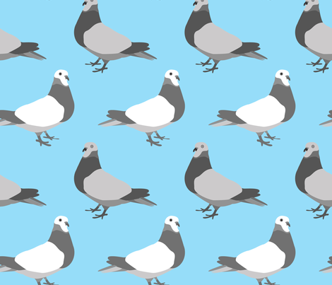 Pigeon Parade, Bright Blue fabric by someday on Spoonflower - custom fabric