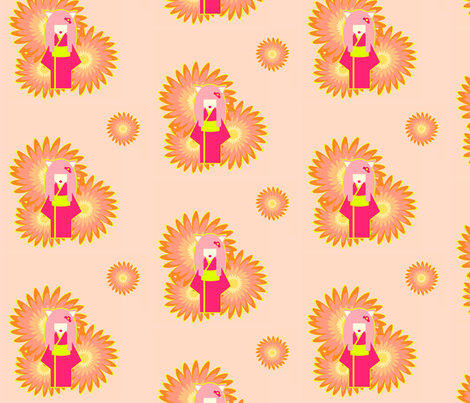 Kittylady fabric by bumblevee on Spoonflower - custom fabric