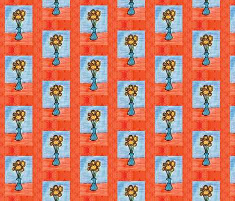 Cheery Sunflowers in a Vase fabric by trgatesart on Spoonflower - custom fabric