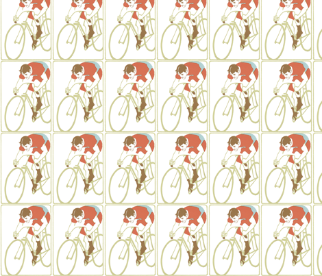 Art_Nouveau_cyclist fabric by kristenmary on Spoonflower - custom fabric