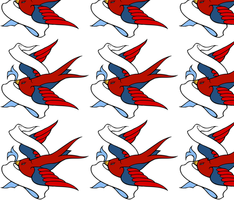 tattoo_swallow fabric by kristenmary on Spoonflower - custom fabric