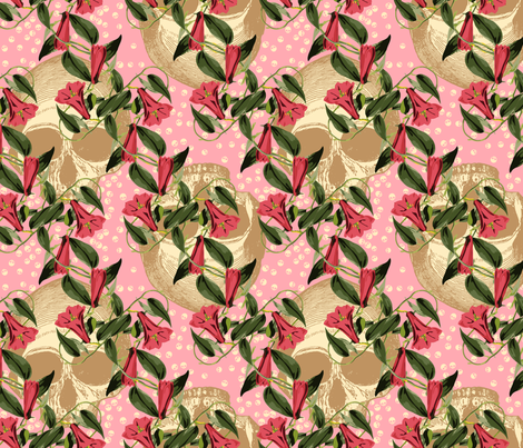 skulls-in-the-garden_pink fabric by ophelia on Spoonflower - custom fabric
