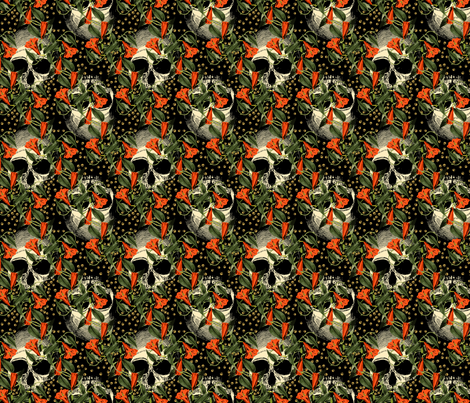 Skulls in the Garden fabric by ophelia on Spoonflower - custom fabric
