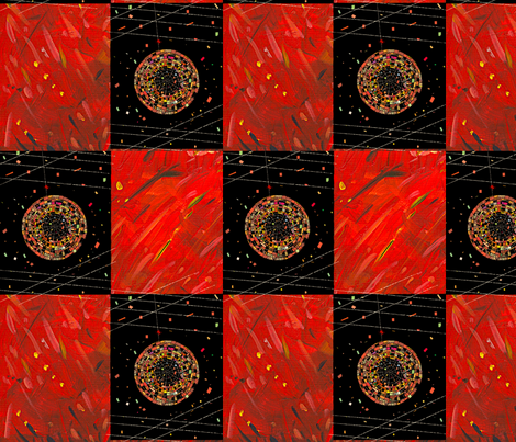 Red and black patchwork fabric by margaretsart on Spoonflower - custom fabric