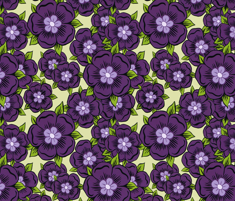 purple_flower_repeat-smaller fabric by lisamarie on Spoonflower - custom fabric