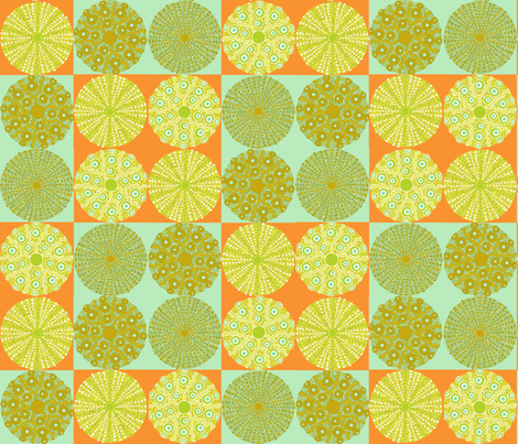 sea_urchins_check_aqua_orange_big fabric by lfntextiles on Spoonflower - custom fabric