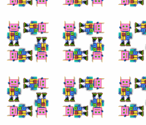 Pink Robots Large fabric by cherie on Spoonflower - custom fabric