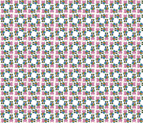 Pink Robots Teeny Tiny fabric by cherie on Spoonflower - custom fabric