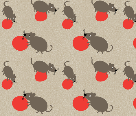 mice playing ball fabric by strawberryluna on Spoonflower - custom fabric