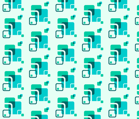 Stylized Flower Matching Blocks - 4in (teal) fabric by studiofibonacci on Spoonflower - custom fabric
