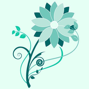 Stylized Flower - 12in (teal)