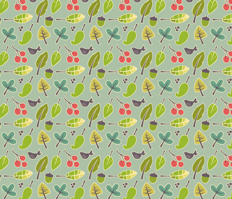 blue autumn pattern fabric by utehil on Spoonflower - custom fabric