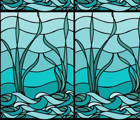 Marsh1b_recolor-waves_aqua-sky_bluegreen fabric by mina on Spoonflower - custom fabric