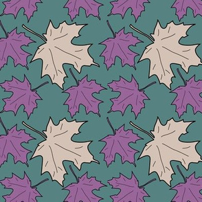 4 Maple leaves_green_lilac_warm-beige