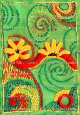 swirly embroidery in green with frame