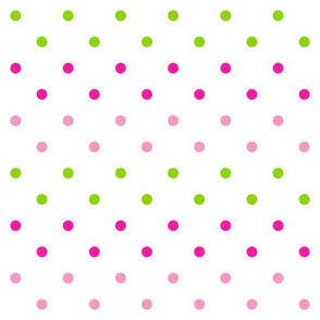 Spring Dot in Pretty Pinks/ Lime Green
