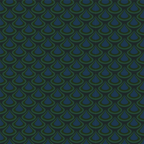 Nouveau Peacock Drops Green  fabric by jazilla on Spoonflower - custom fabric