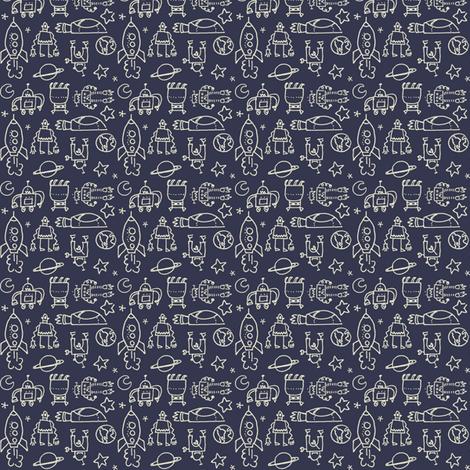 robots_navy fabric by juliannlaw on Spoonflower - custom fabric