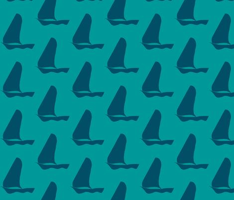 green_sailboat_small fabric by mina on Spoonflower - custom fabric
