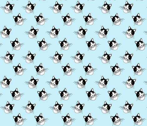 Cat face in blue fabric by lacefairy on Spoonflower - custom fabric