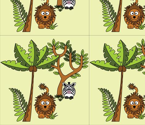 Cartoon Jungle - Lion & Zebra fabric by studiofibonacci on Spoonflower - custom fabric