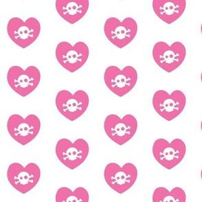 skull + heart polkadots