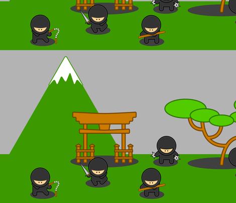 Cartoon Ninjas fabric by studiofibonacci on Spoonflower - custom fabric