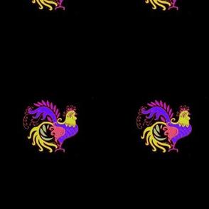 DollHouse Rug Pattern  Art_Deco_Rooster_jewel_wide_boarder