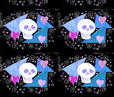 Original Gothic Skull Inverted fabric by eelkat on Spoonflower - custom fabric