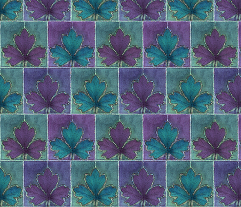 Dyepaint_leaf_crop_fabric_offset_teal_redviolet_minagreen fabric by mina on Spoonflower - custom fabric