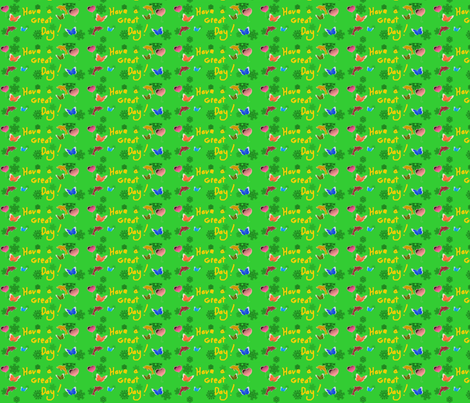 have a great day calico green fabric by eelkat on Spoonflower - custom fabric