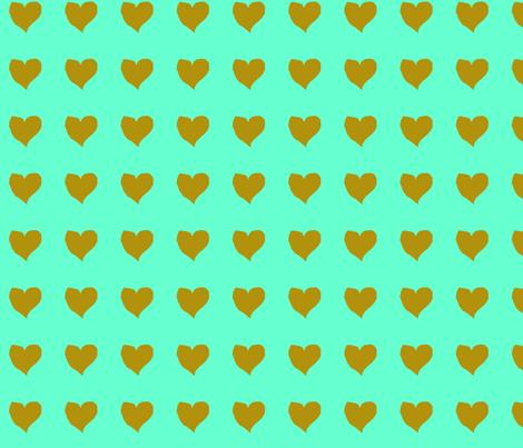 olive_heart_on_aqua fabric by eelkat on Spoonflower - custom fabric
