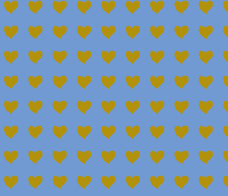 olive_heart_on_blue fabric by eelkat on Spoonflower - custom fabric