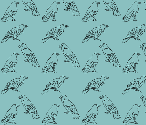 Raven-sketches-1-AQUA-SKY fabric by mina on Spoonflower - custom fabric