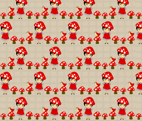 Little Mushroom Girl (Grey and Red) fabric by jmaranez on Spoonflower - custom fabric