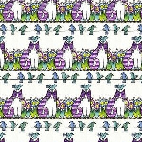 BIRD BRAIN 02...Cat in Garden...Stripes