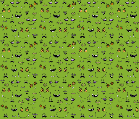 Monster Baybeez Green fabric by lulakiti on Spoonflower - custom fabric