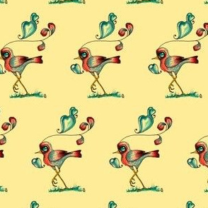 Whimsical Little Bird with hearts