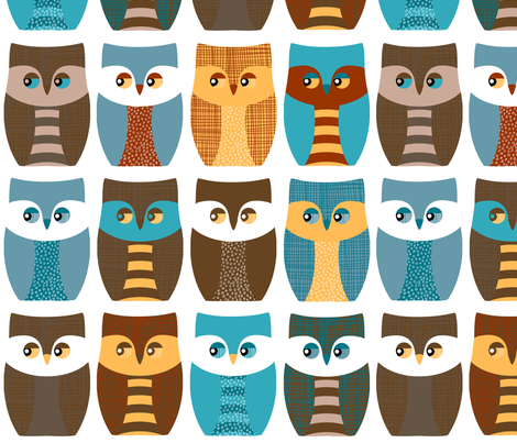 "5"" owls, owls, and more owls fabric by bubbledog on Spoonflower - custom fabric"