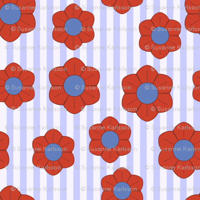 red and blue flowers